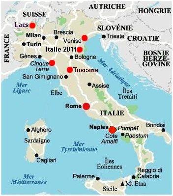 Carte Italie Assise.Itineraire Italie