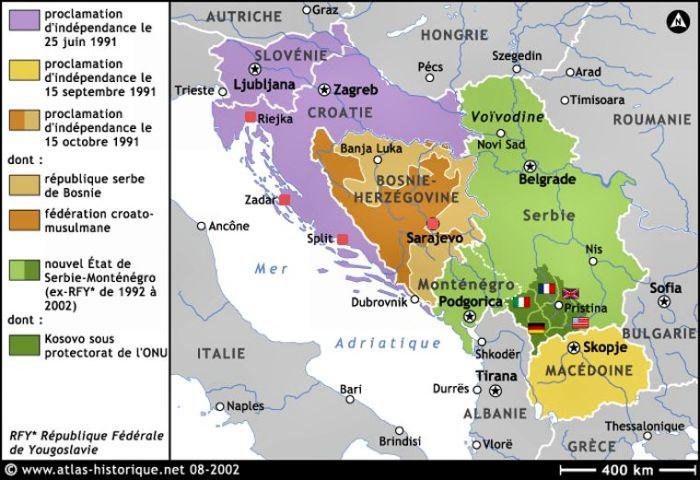 Ex Yougoslavie Carte.Itineraire Ex Yougoslavie
